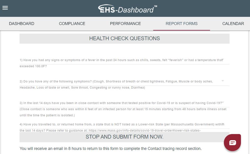 EHS-Dashboard Helps With COVID-19 Health Checks